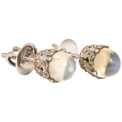 Vintage Moonstone and 18 Carat White Gold Stud Earrings