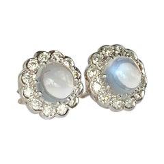 Vintage Moonstone and Diamond Cluster Stud Earrings