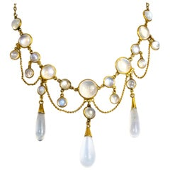 Vintage Moonstone Festoon Necklace