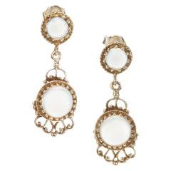 Vintage Moonstone Yellow Gold Dangle Earrings