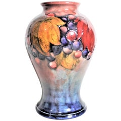 Vintage Moorcroft Flambe Glazed Leaf and Berry Art Pottery Vase