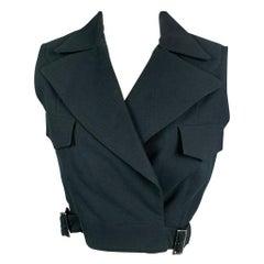 Vintage MORGANE LE FAY Size L Black Textured Cotton Cropped Vest