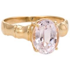 Vintage Morganite Cocktail Ring 14 Karat Gold Bamboo Estate Pink Jewelry 6.75
