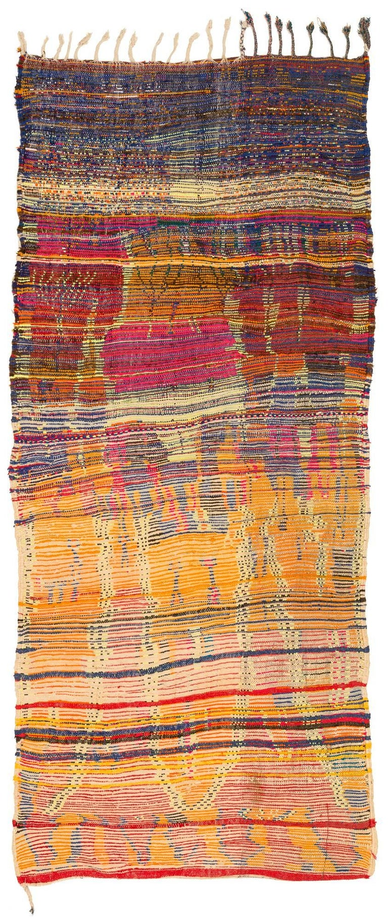 We love this funkily colored and designed rug. Not a very old rug but made for home use. This rug has the feeling of an authentically made tribal rug that has not been woven for the commercial market. An amazingly crazy spirit was the author of this