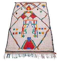 Vintage Moroccan Azilal Rug in White with Geometric Pattern in Primary Colors