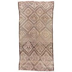 Vintage Moroccan Azilal Rug, Lavender, Orange & Gray Accents