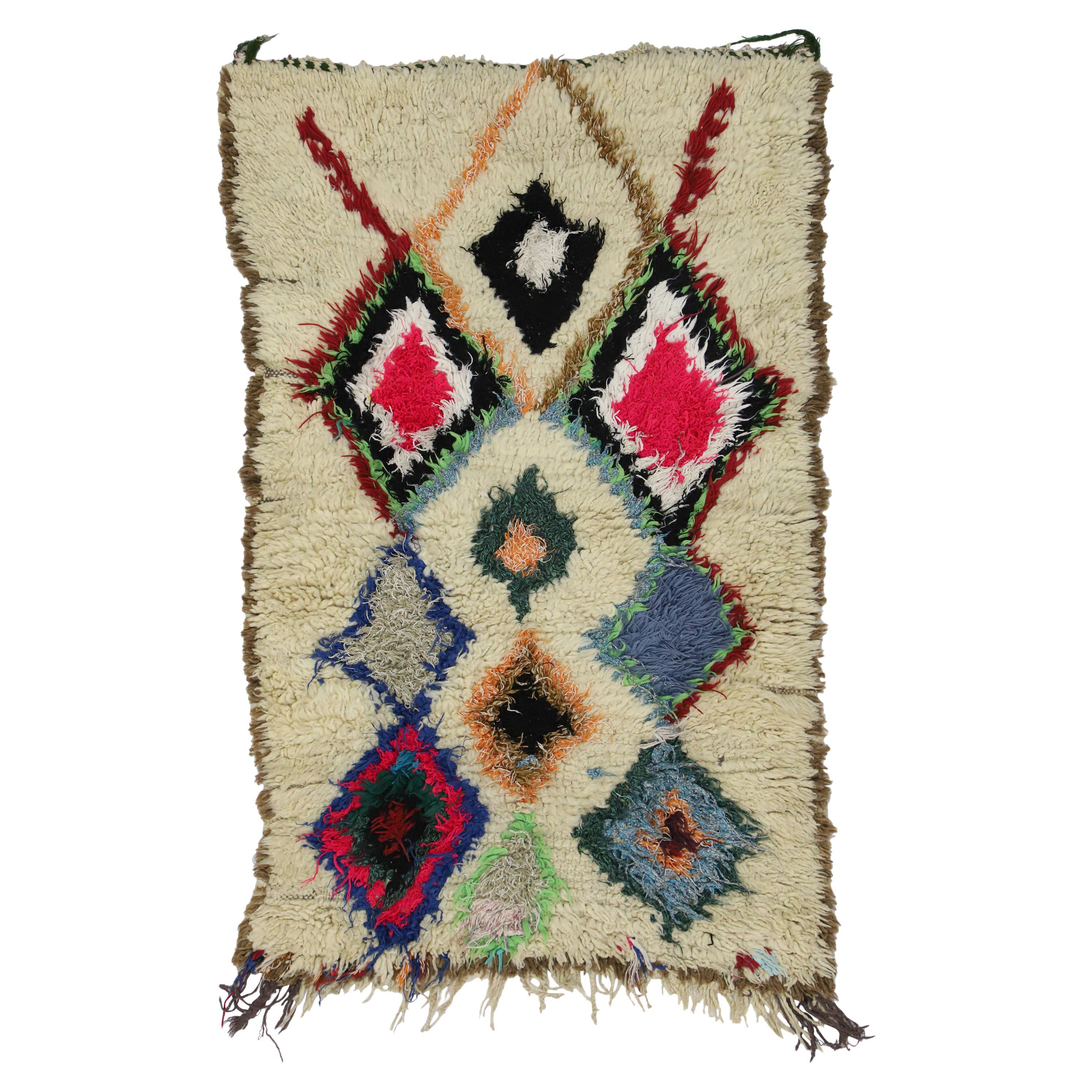 Vintage Moroccan Azilal Rug with Bohemian Style, Moroccan Boucherouite Rug