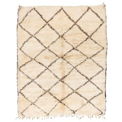 Vintage Moroccan Beni Ouarain Berber Rug with Brown Pattern on White Background