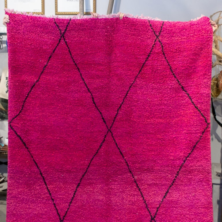 Tribal Moroccan Beni Ourain Double Sided Wool Rug in Hot Pink and Black For Sale
