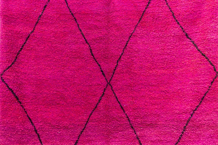 Hand-Woven Moroccan Beni Ourain Double Sided Wool Rug in Hot Pink and Black For Sale