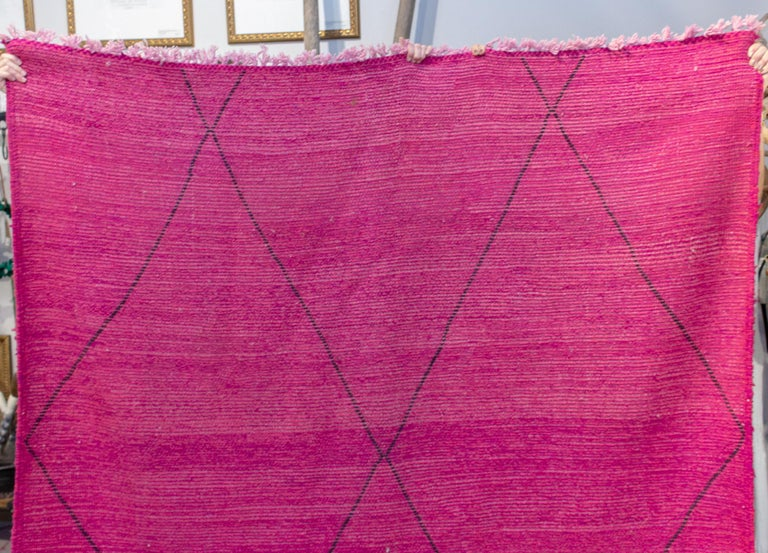 Moroccan Beni Ourain Double Sided Wool Rug in Hot Pink and Black For Sale 1