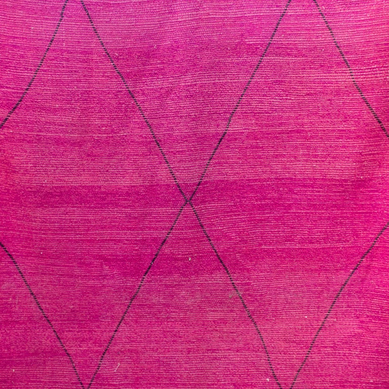 Moroccan Beni Ourain Double Sided Wool Rug in Hot Pink and Black For Sale 2