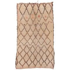 Vintage Moroccan Beni Ourain Rug, Coral and Gray Diamonds