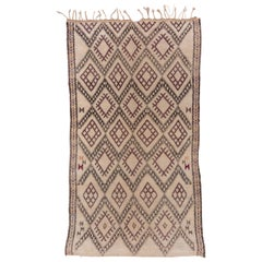 Vintage Moroccan Beni Ourain Rug, High Atlas Mountains, Purple Accents