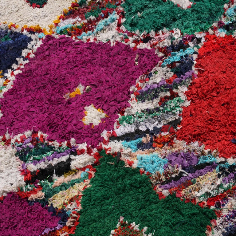 This very bold and invigorating handwoven rug from Morocco brings every room to life. The materials used include recycled rag strips and yarns from a variety of found textile remnants including wool, cotton, synthetic fibers.