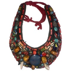 Boho Chic Vintage Moroccan Berber Collar Necklace with Tuareg Leather