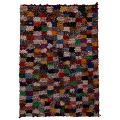 Vintage Moroccan Berber Geometric Checkerboard Multi-Color Wool Fabric Rug