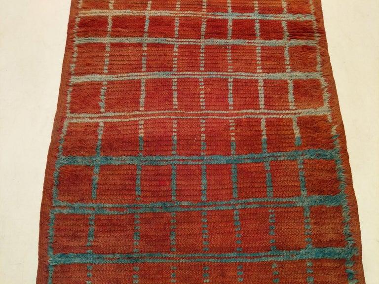 Mid-Century Modern Vintage Moroccan Berber Geometric Design Narrow Runner For Sale