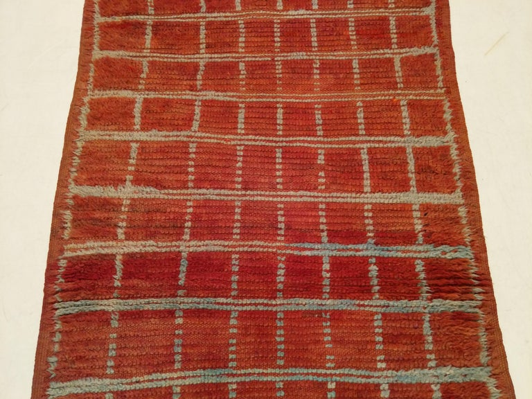 Hand-Knotted Vintage Moroccan Berber Geometric Design Narrow Runner For Sale