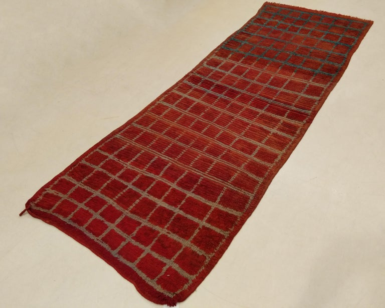 20th Century Vintage Moroccan Berber Geometric Design Narrow Runner For Sale