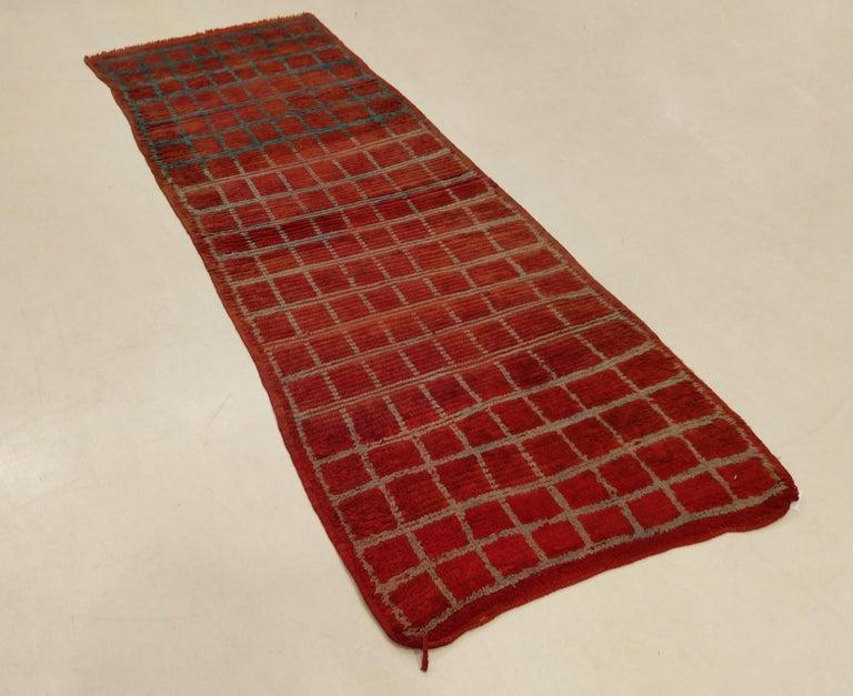 Wool Vintage Moroccan Berber Geometric Design Narrow Runner For Sale