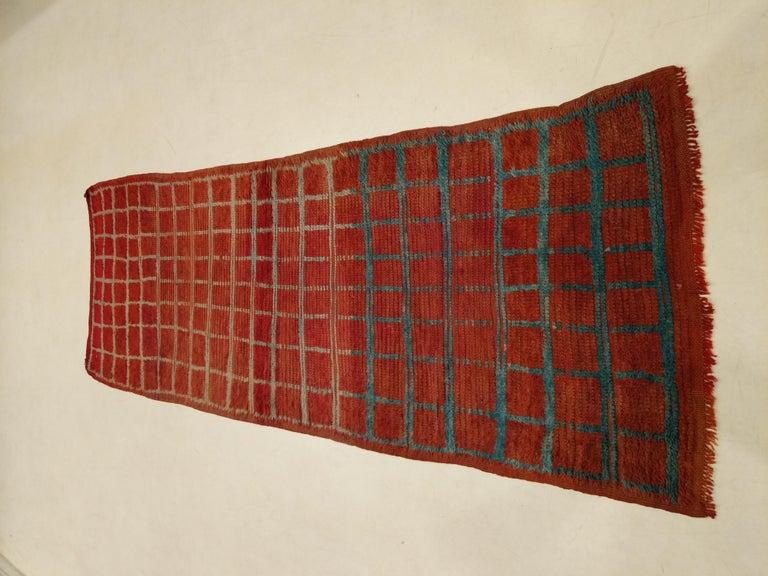 Vintage Moroccan Berber Geometric Design Narrow Runner For Sale 1