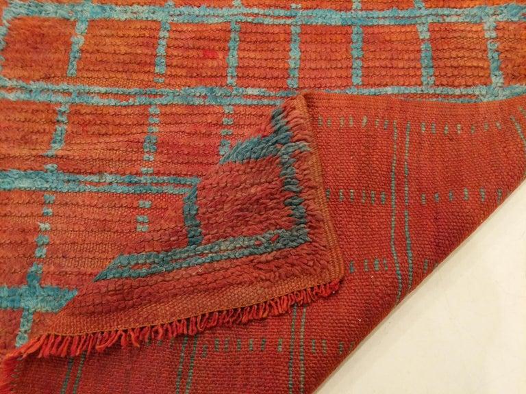 Vintage Moroccan Berber Geometric Design Narrow Runner For Sale 2