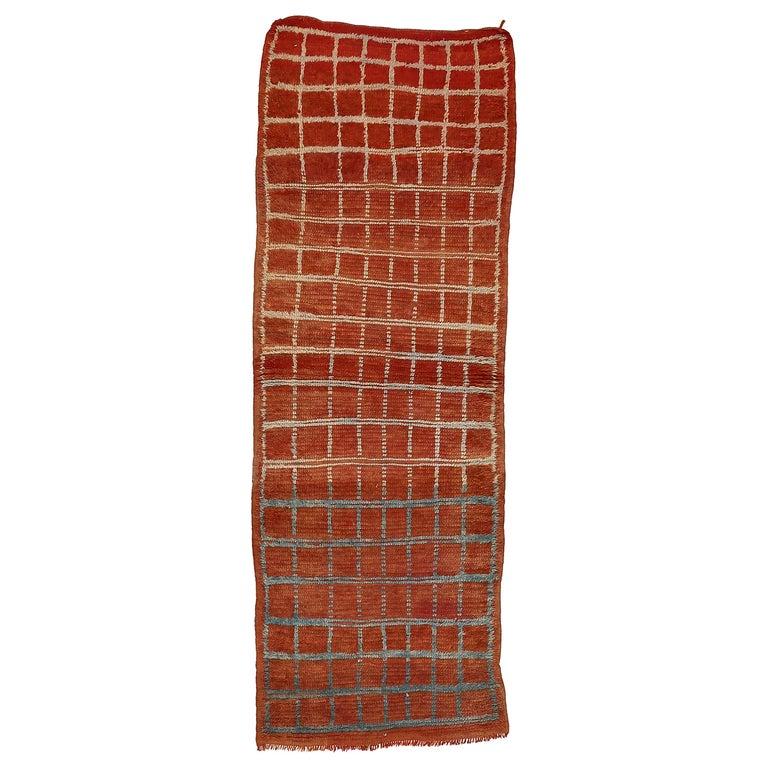 Vintage Moroccan Berber Geometric Design Narrow Runner For Sale