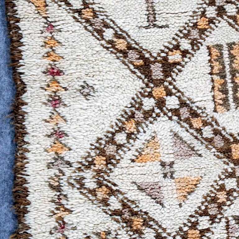 Hand-Knotted Vintage Moroccan Berber Rug with Henna Accents For Sale