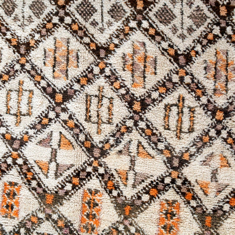 Wool Vintage Moroccan Berber Rug with Henna Accents For Sale