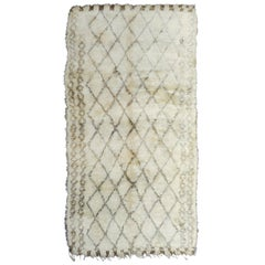 Vintage Moroccan Berber Rug with Natural Ivory Wool and Olive Color Accent