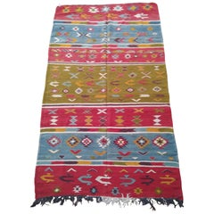 Vintage Moroccan Berber Wool Area Rug, Handwoven, Natural Red Green Blue