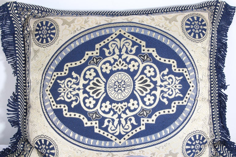 Vintage Moroccan blue bolster lumbar decorative pillow.