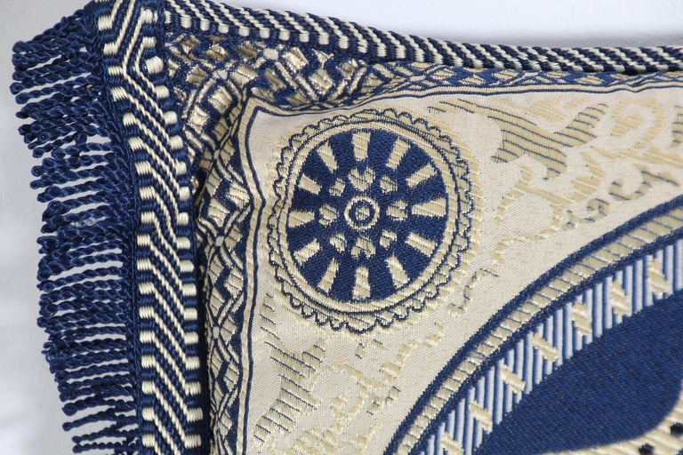 Moorish Vintage Moroccan Blue Bolster Lumbar Decorative Pillow For Sale