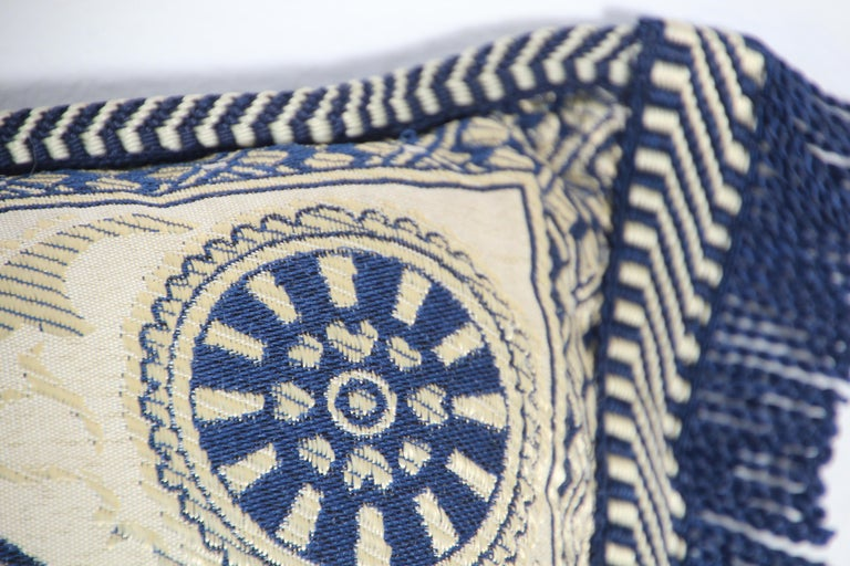 Vintage Moroccan Blue Bolster Lumbar Decorative Pillow In Fair Condition For Sale In North Hollywood, CA