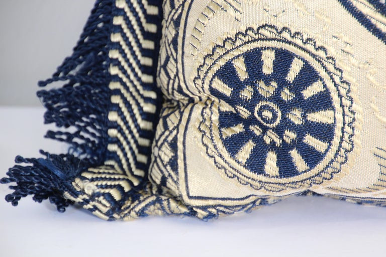 Fabric Vintage Moroccan Blue Bolster Lumbar Decorative Pillow For Sale