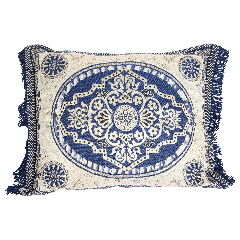 Vintage Moroccan Blue Bolster Lumbar Decorative Pillow
