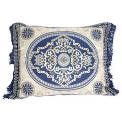 Vintage Moroccan Blue Bolster Lumbar Decorative Pillow