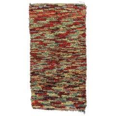 Vintage Moroccan Boucherouite Rug, Berber Moroccan Shag Wide Hallway Runner