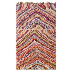 Vintage Moroccan Boucherouite Rug. Size: 4 ft 5 in x 7 ft 2 in (1.35 m x 2.18 m)