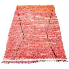 Vintage Moroccan Boucherouite Rug in Tones of Red and Orange, 1980s
