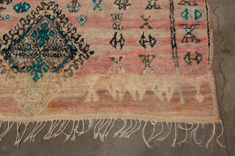 Hand-Knotted Vintage Moroccan Boujad Rug, Bohemian