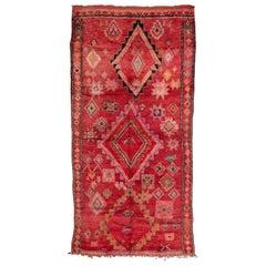 Vintage Moroccan Boujad Rug, Pink, Red