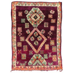Vintage Moroccan Boujad Rug with Tribal Style, Colorful Moroccan Berber Carpet