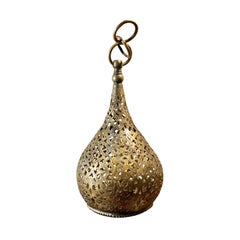 Vintage Moroccan Engraved Brass Hand-Cut Small Hanging Teardrop Pendant Light