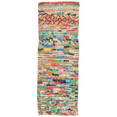 Vintage Moroccan Bright Colorful Hand Knotted Wool and Cotton Runner