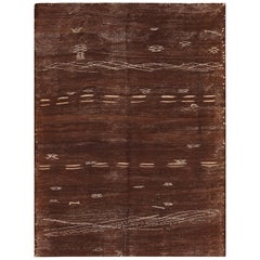 Vintage Moroccan Brown Kilim Rug. Size: 4 ft 8 in x 6 ft 4 in