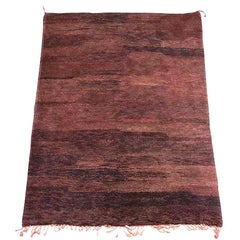 Vintage Moroccan Brown Plum Tribal Berber Rug