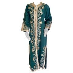 Vintage Moroccan Caftan Emerald Green Maxi Dress, circa 1970 Size M
