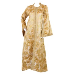 Vintage Moroccan Caftan Gold Damask Embroidered, ca. 1960s